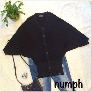 Numph Tops - numph Black Sparkle Batwing Top