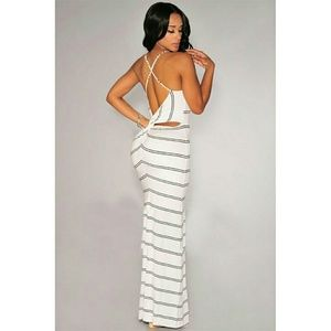 Dresses & Skirts - White striped cut out maxi dress