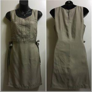 Charlotte Ronson Dresses & Skirts - Charlotte Ronson Silk Studded Beige Dress