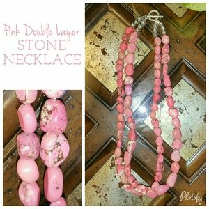  Pink Dyed Howlite Stone Multi Strand Necklace