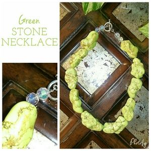  Green Dyed Howlite Large Nugget Stone Necklace