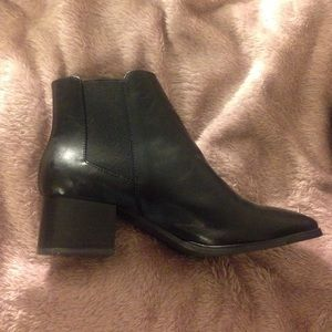 Black faux leather heeled ankle booties