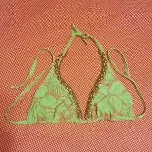 Vix Other - Sofia by Vix Green & Tan Hawaiian Print Bikini Top