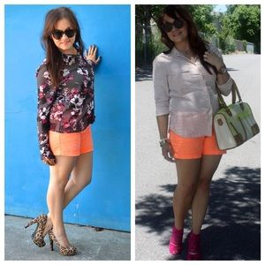 J. Crew neon orange chino shorts