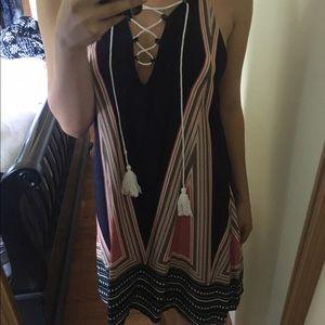 Tribal boho geometric loose flowy summer dress