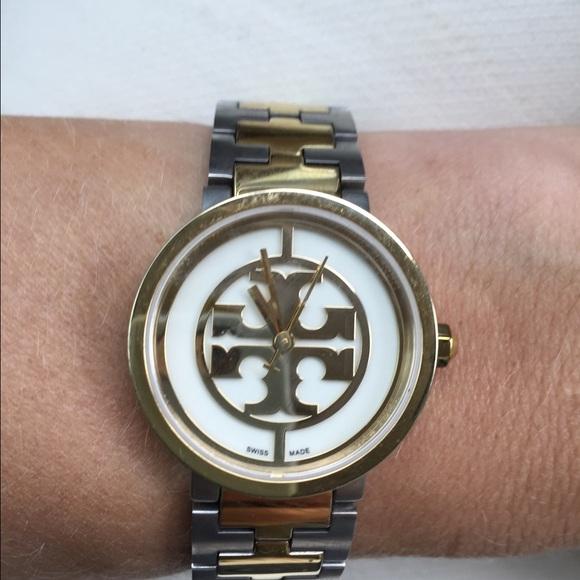 3421e345087 Tory Burch Reva 28mm Two Tone watch  495. M 57a34f0df739bc4aa70022b0