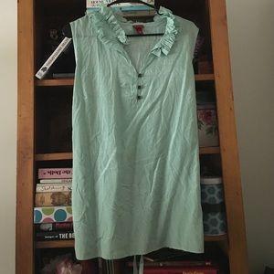 Marona mint green print ruffle blouse