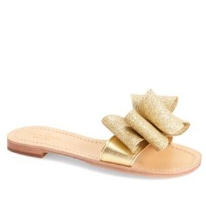 Kate Spade Gold Cicely Bow slide on sandal 7.5