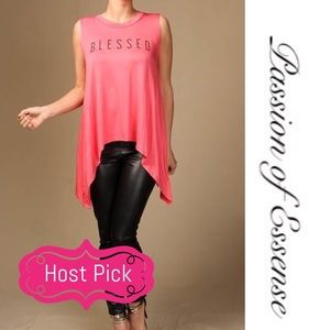 Passion of Essense Tops - 1 LEFT Small Coral Blessed Sleeveless Loose Top