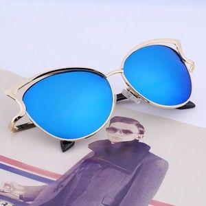 Sexy Cateye Sunglasses Mirrored Blue