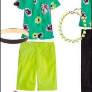 "J.Crew Lime Green Yellow Neon 10"" Bermuda Shorts 0"