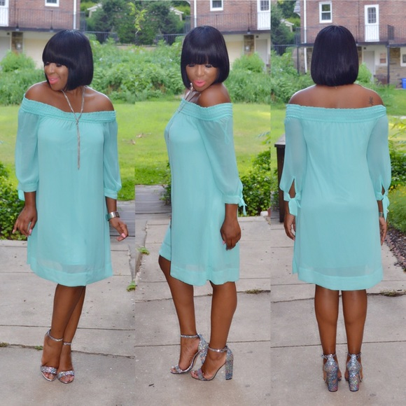 Dresses & Skirts - Elegant Off the Shoulder Baby Blue Dress