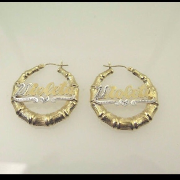 bamboo nameplate earrings 14 jewelry 14k two tone gold bamboo hoop name plate 7289