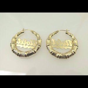 Jewelry | 14k Two Tone Gold Bamboo Hoop Name Plate ... Name Plate Earrings
