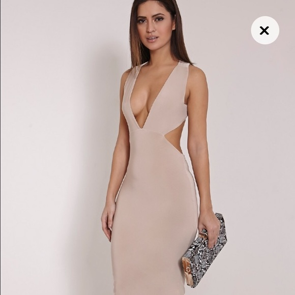 b37c28eaa2 Missguided Nude Plunge Halter Dress. M 57a378dc5a49d0e960006801