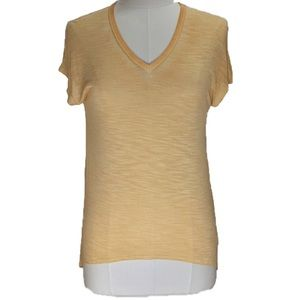 NWT yellow-orange short sleeve tee with lace back