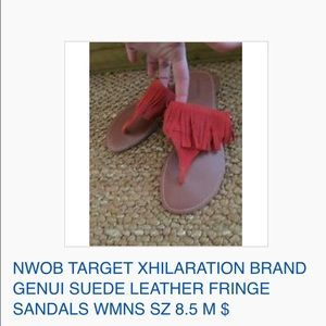 NWOB TARGET XHIL SUEDE LEATHER FRINGE SANDALS 8.5
