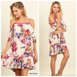 Floral Print Off Shoulder Dress w/ Pom Pom Trim