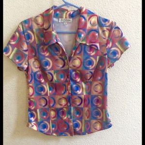 Le Chateau 90s vintage digital print rainbow shirt