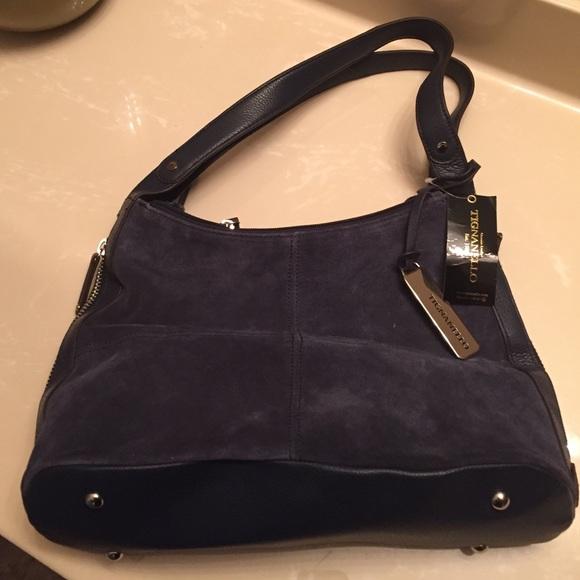 64% off Tignanello Handbags - Tignanello Navy Blue Suede Handbag ...