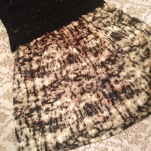 Ann Taylor Brown Black Print Silk Blend Skirt 8