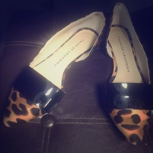 Chinese Laundry Pointed toe black & leopard flats