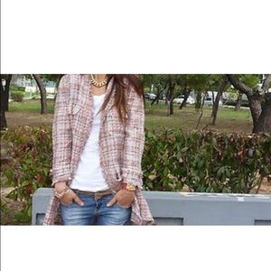 Zara pink plaid jacked with gold hardware