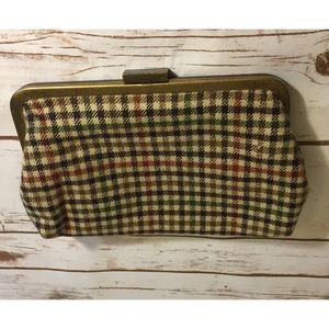 Plaid J Crew clutch purse