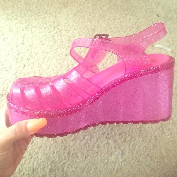 Pretty Pink Jelly Platforms | Poshmark