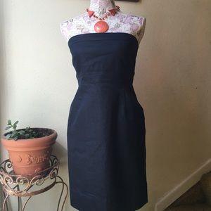 Strapless denim dress.
