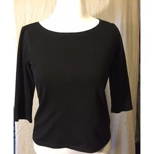 EUC Eileen Fisher black cotton top size medium