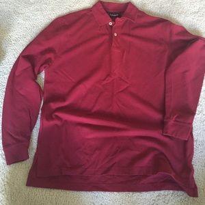 Men's S long sleeve maroon polo shirt