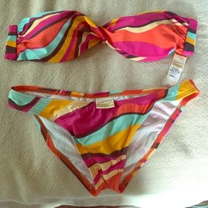 L space strapless bikini top and matching bottoms