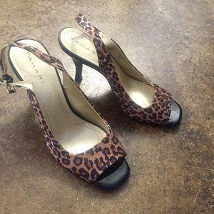 Tahari Cheetah Print Kitten Heels