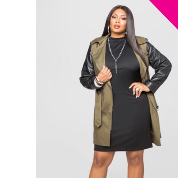 abc7b746a5e FAUX LEATHER SLEEVE TRENCH JACKET OLIVE
