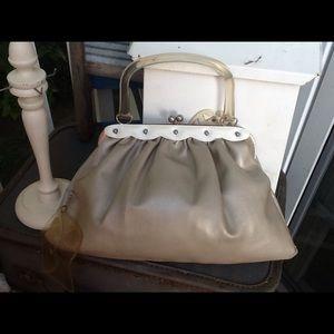 VTG 50s CLEAR LUCITE HANDLE BAG