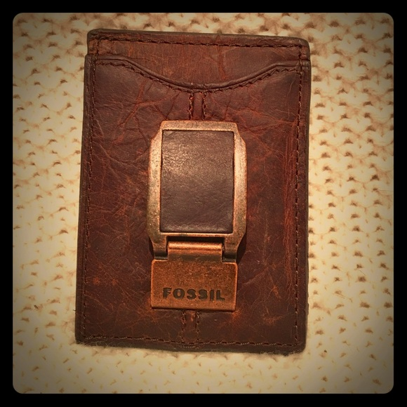 71815297431e Fossil Leather Card Case and Money Clip