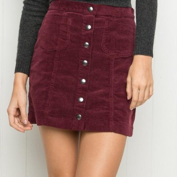 b9cbb78a1f Brandy Melville Dresses & Skirts - Brandy Melville Burgundy button-up corduroy  skirt