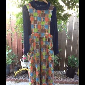 Vintage 60's 70's Navy Dress Plaid Overlay
