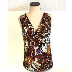 Grace Elements Tops - Black/brown print sleeveless blouse cowl neck