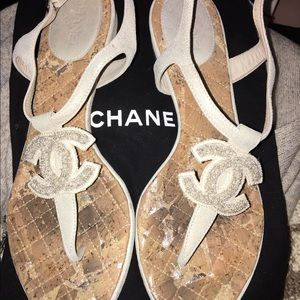 Chanel CC Leather Thong Sandals 36.5
