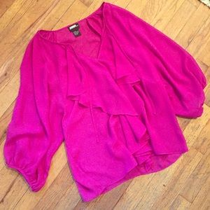 Tops - Pink sheer Blouse - 3/4 sleeve, ruffles in front