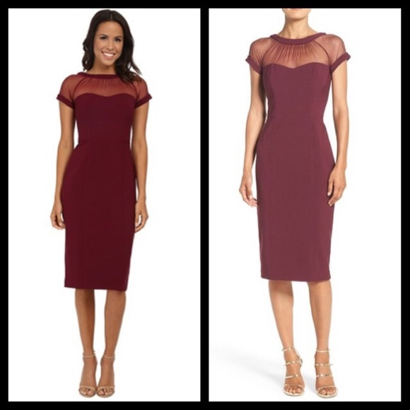 548d5c5b Maggy London Dresses | Illusions Yoke Crepe Sheath Dress | Poshmark