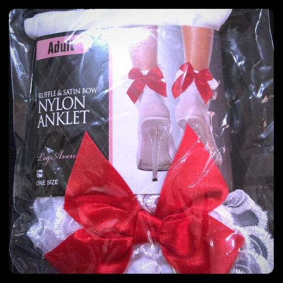 Adult White Lace Ruffle Ankle Sicks Red Bow [AC-5]