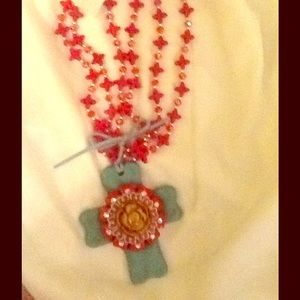 Jewelry - Handcrafted clay cross pendant necklace
