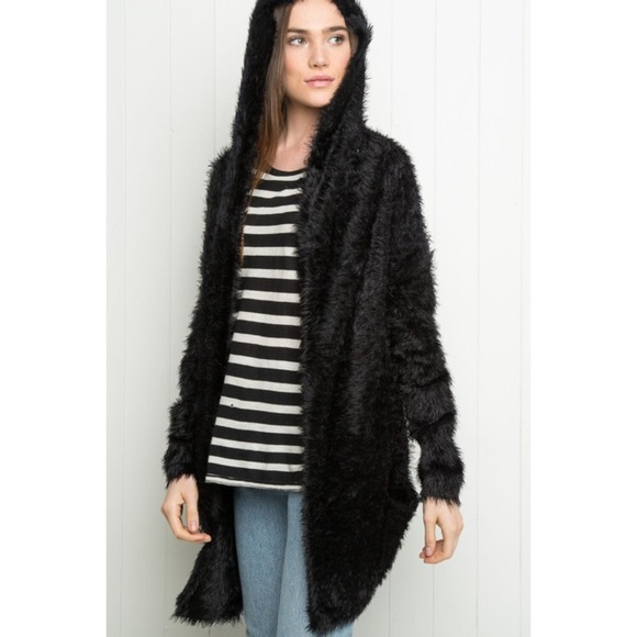 55% off Brandy Melville Sweaters - Brandy Melville fuzzy hooded ...