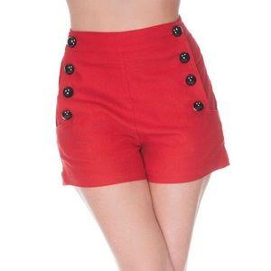 Voodoo Vixen Pants - Voodoo Vixen Red High Waist Shorts