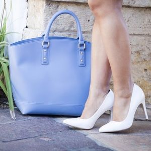 JustFab Handbags - Blue Faux Leather Tote Bag