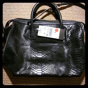 Zara Leather Bowling Bag in Blue