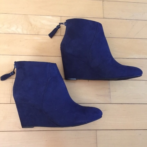fdc68119f5c Charming Charlie Shoes - Navy Blue Faux Suede Tassel Wedge Booties